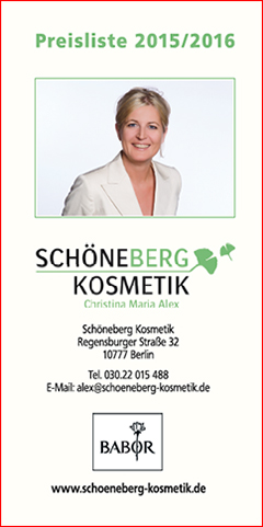 price list of Schöneberg Kosmetik in Berlin